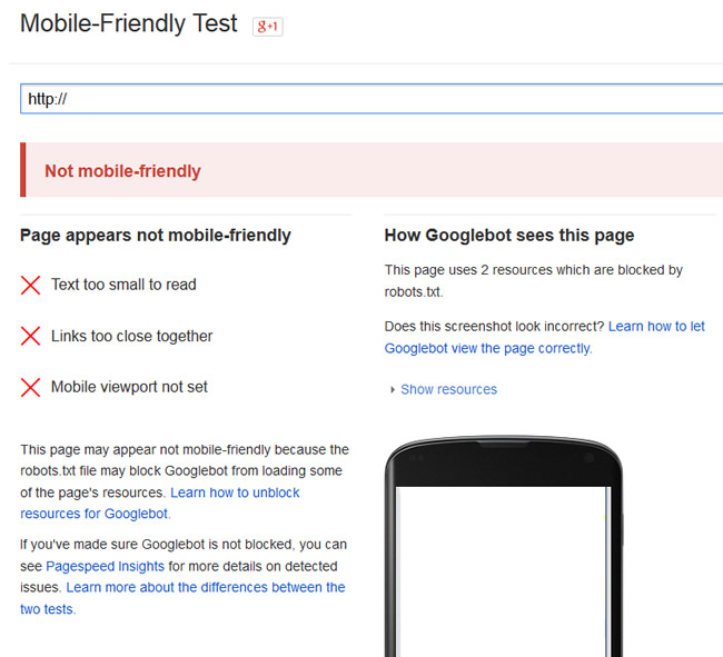 Running New URLs Through Google's Mobile-Friendly Test