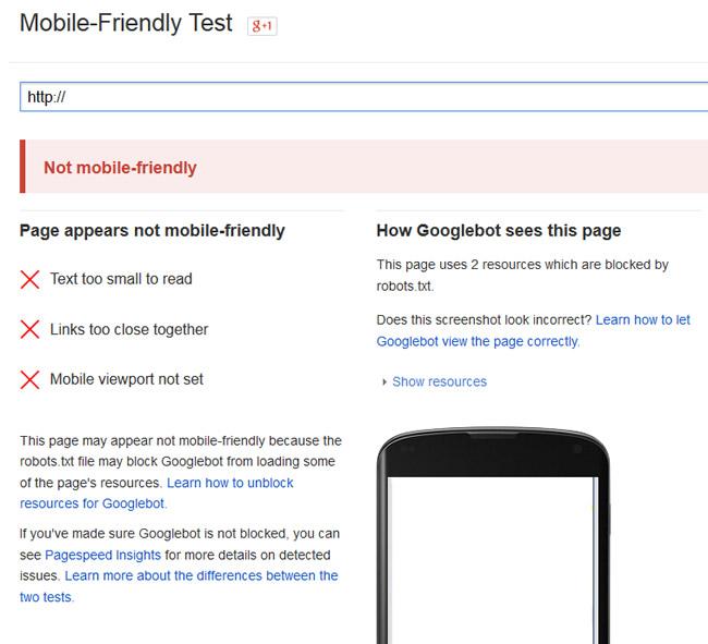 Running New URLs Through Google's Mobile-Friendly Test