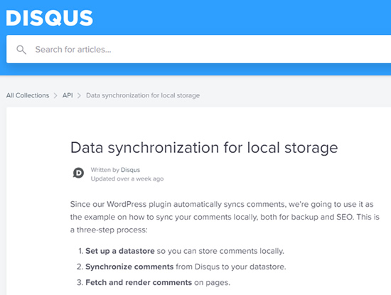 Disqus local storage option for having comments indexed.