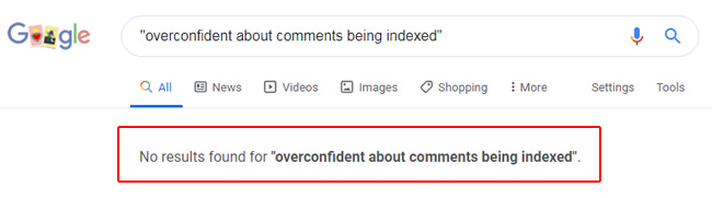 Comments not indexed.