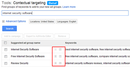 Exapnding ad groups in the Contextual Targeting Tool