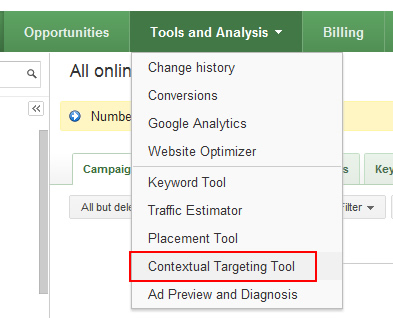 Find the Contextual Targeting Tool in AdWords