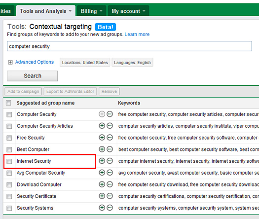 Entering keywords in the Contextual Targeting Tool