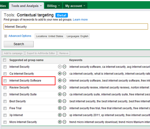 Finding related searches using the Contextual Targeting Tools
