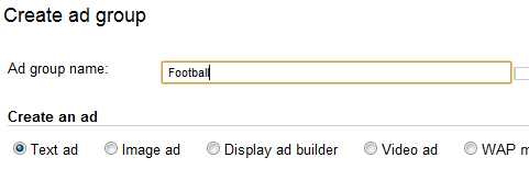 Custom Combination in AdWords, Creating a New Ad Group