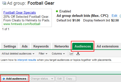 Adding a new audience in Google AdWords