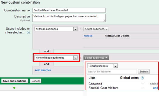 Step 2 in creating a new custom combination.