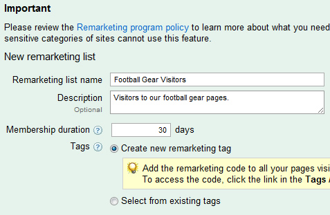 Setting up a new remarketing list in Google AdWords.