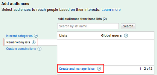 Creating a new remarketing list in Google AdWords.