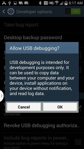 Allow USB Debugging on Android Device