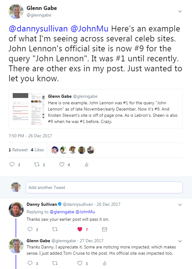 Tweet from Danny Sullivan about the 12/15 update.