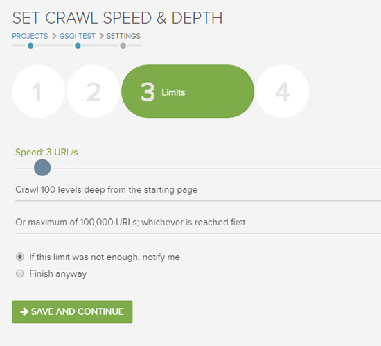 Setting crawl limits in DeepCrawl.