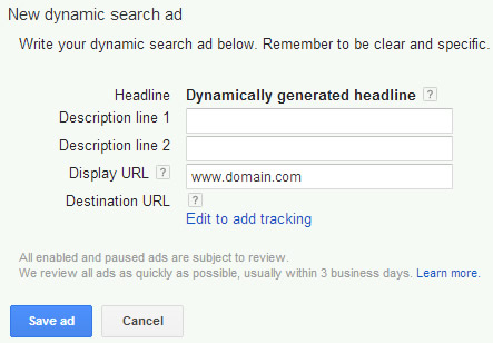 Example of Dynamic Search Ad in AdWords