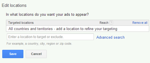 Adding a location to target in enhanced campaigns.