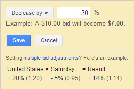 Adding a bid adjustment in an enhanced campaign.