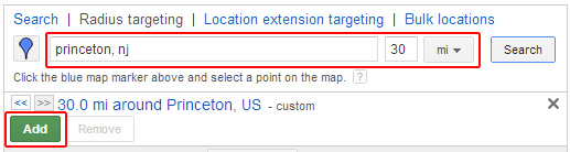 Adding a second location target using radius targeting in enhanced campaigns.
