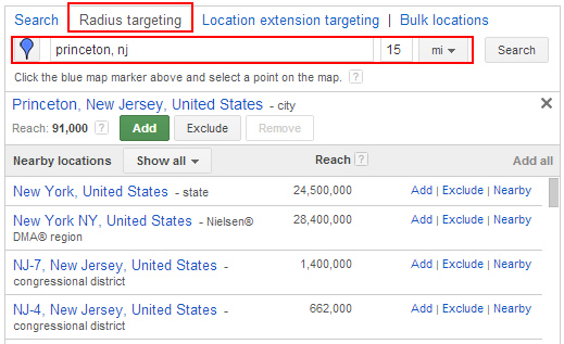 Using Radius Targeting in Enhanced Campaigns