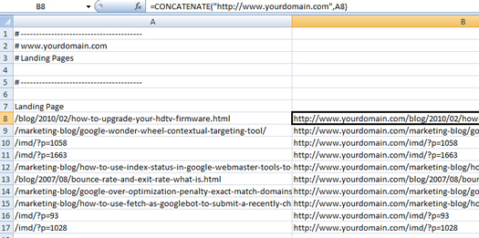 Using the CONCATENATE function in Excel to buld URL's