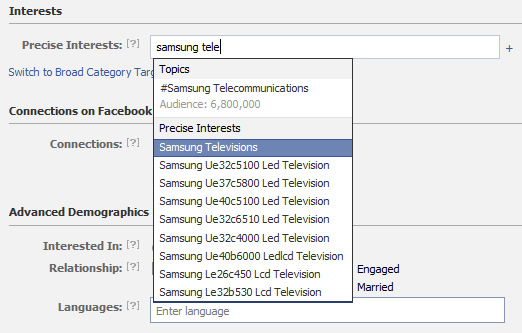 Targeting People Who Have Shown a Precise Interest in Samsung Televisions