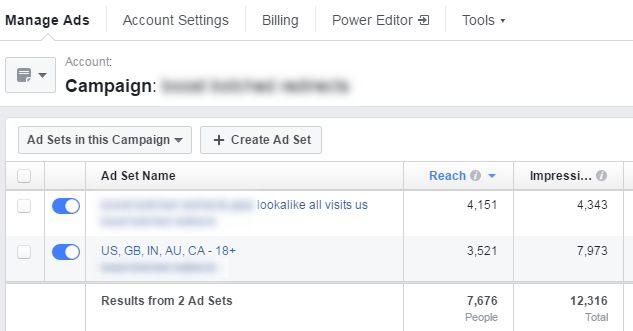 Using multiple ad sets for targeting and budget for a boosted post campaign.
