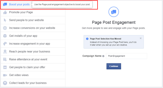 Creating a boosted post campaign in Ads Manager.