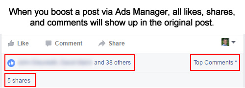 Engagement will show up in a boosted Facebook post.