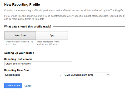 Create a new profile in Google Analytics.