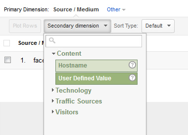 Adding a secondary dimension in Google Analytics