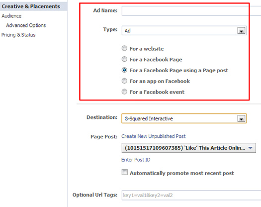 Creating an unpublished post ad in Facebook.
