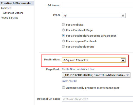 Choosing an ad destination for unpublished post ad in Facebook.