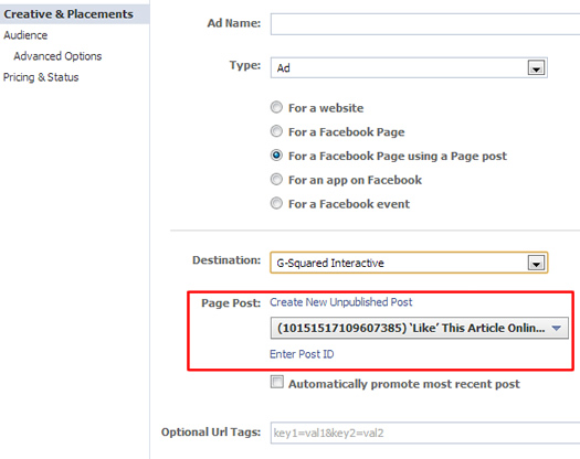 Selecting a page post for an unpublished post ad in Power Editor.