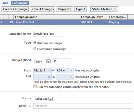 Creating a new Facebook campaign in Power Editor.