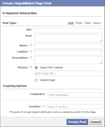 Unpublished posts in Facebook