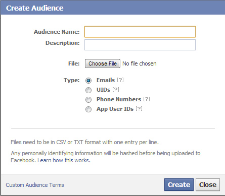 Using Custom Audiences in Facebook