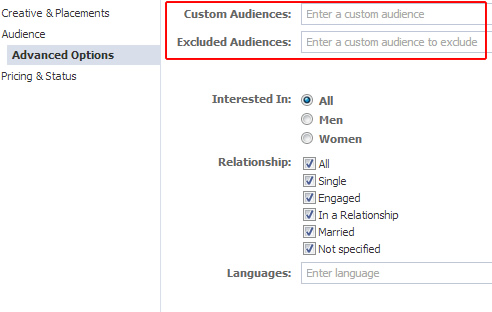 Selecting a custom audience for an unpublished post ad in Power Editor.