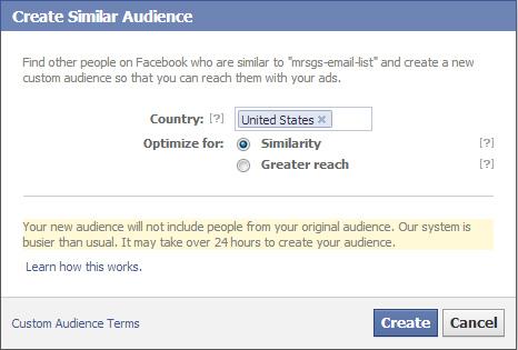 Using Lookalike Audiences in Facebook