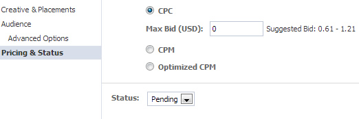How to set pricing for an unpublished post ad in Power Editor.