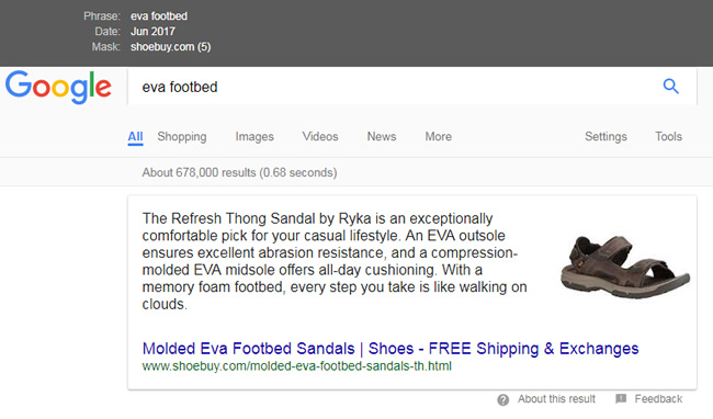 Featured snippet migration eva footbed shoebuy.com