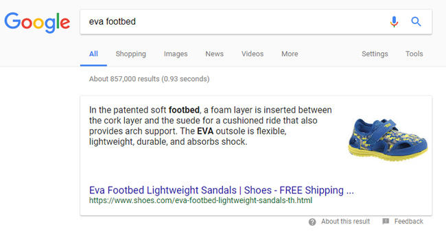 Featured snippet migration eva footbed shoes.com