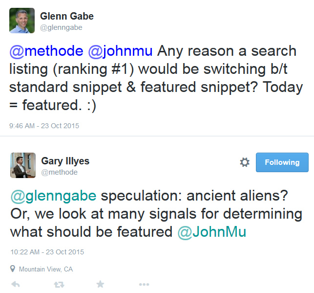 Gary Illyes Tweet About Featured Snippets
