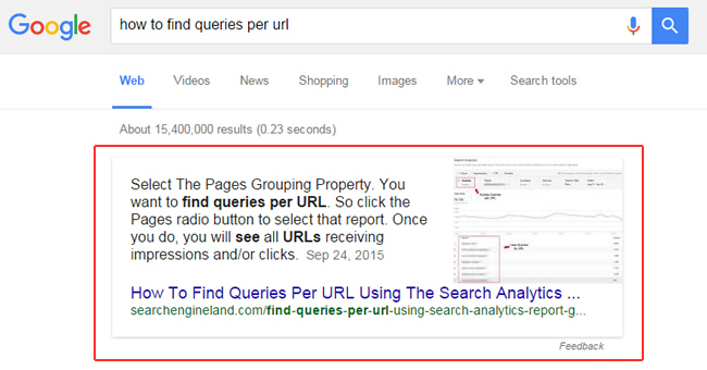 Google Featured Snippet Reappears
