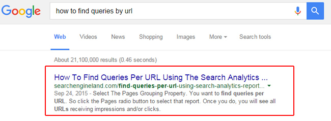 Standard Featured Snippet Returns