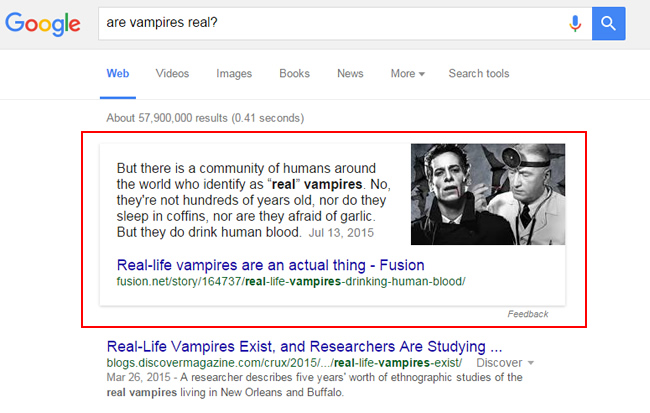 Example of a Featured Snippet - Are Vampires Real?