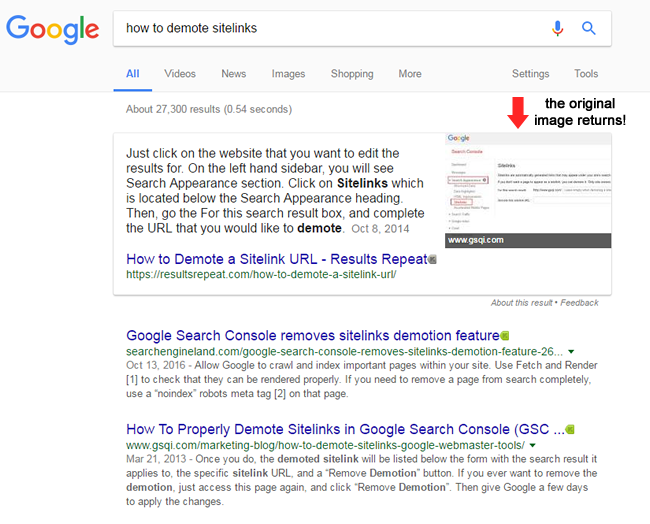 Google returns the original image to the featured snippet.