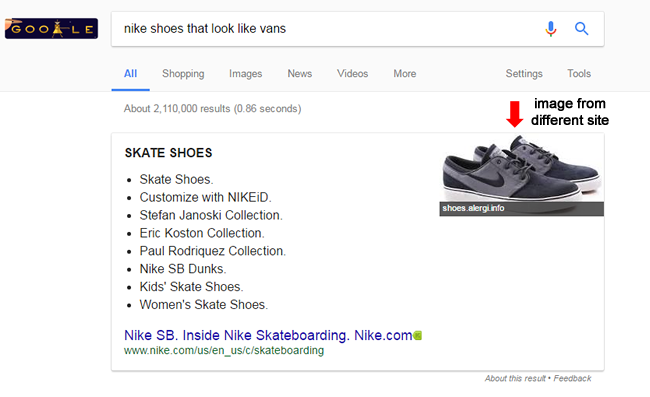 Featured snippet image for larger brand sourced from a third party site.