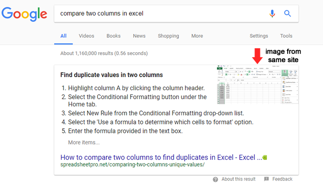 Image from the same site in a featured snippet.