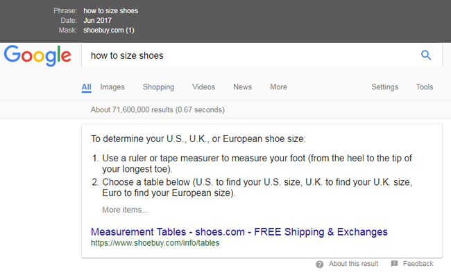 Featured Snippets Migration Shoebuy.com