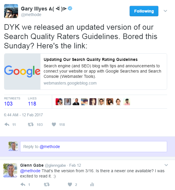 Gary Illyes tweet about Quality Rater Guidelines.