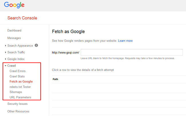 Fetch as Google in the Crawl Section of GSC