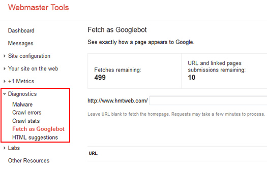 Accessing Fetch as Googlebot in Google Webmaster Tools